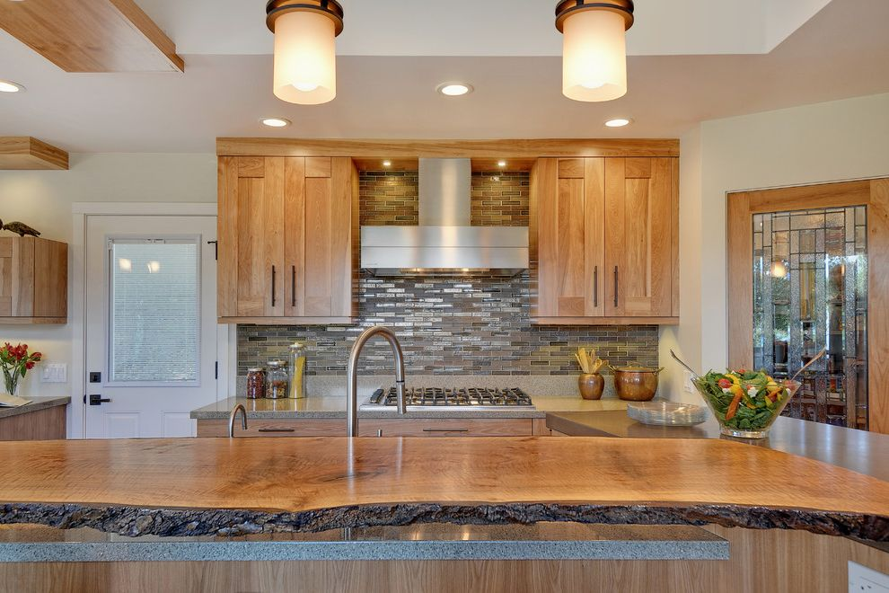 Painting Pressure Treated Wood with Contemporary Kitchen Also Ceiling Lighting Eat in Kitchen Island Lighting Kitchen Island Live Edge Wood Countertop Neutral Colors Recessed Lighting Tile Kitchen Backsplash Wood Cabinets Wood Slab Countertop