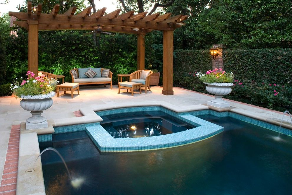 Painting Pressure Treated Wood with Traditional Pool Also Brick Edging Covered Patio Formal Garden Urns Hedge Hot Tub Lanterns Mosaic Tile Patio Patio Furniture Pergola Pool Fountain Pool Tile Rectilinear Pool Spa