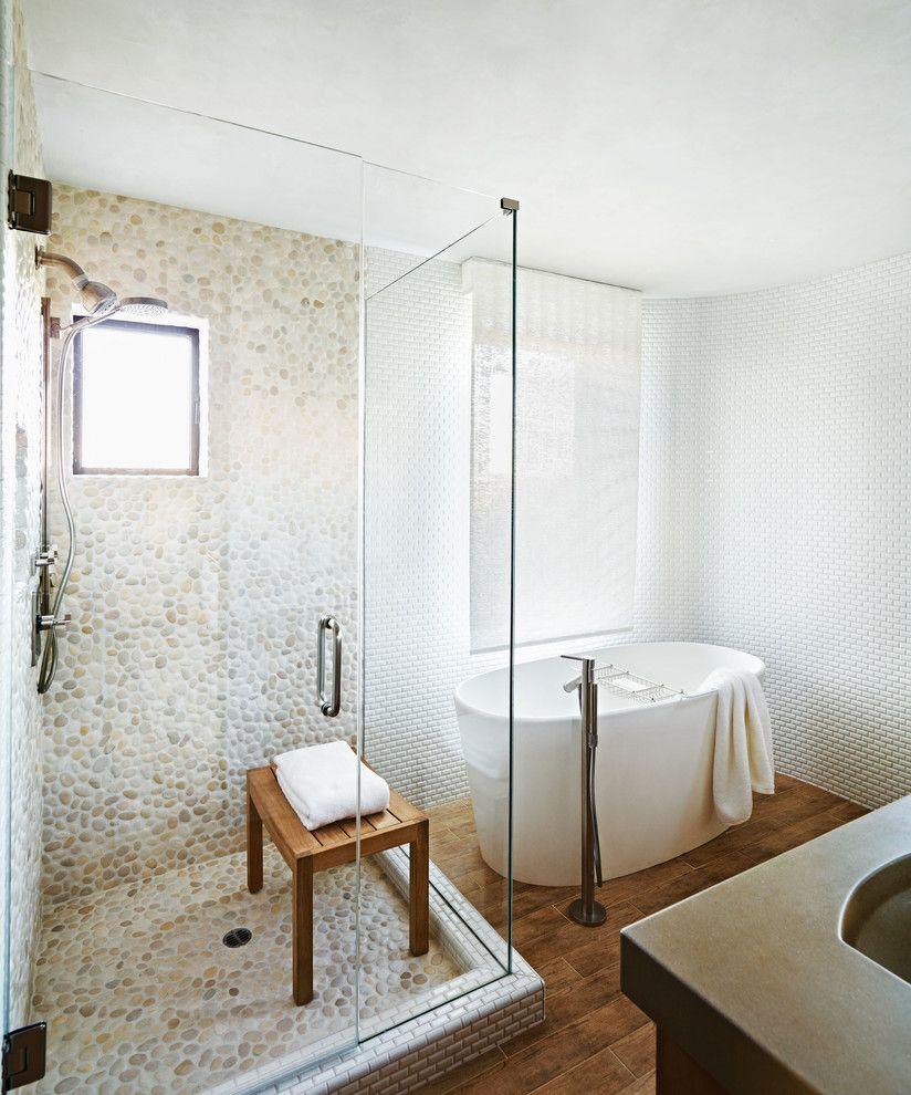 Pebble Ice Maker   Contemporary Bathroom Also Glass Shower Glass Shower Door Pebble Tile Pebble Tile Shower Pebble Tile Wall Shower Shower Bench Soaking Bathtub Soaking Tub White White Tile Wall Wood Floor