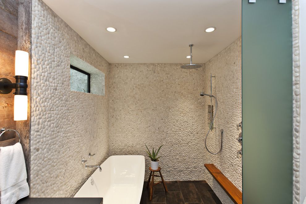 Pebble Ice Maker   Contemporary Bathroom  and Freestanding Tub Frosted Glass Glass Wall Pebbles Rain Shower Shower Ledge Stone Walls Teak Tile Floor Wall Mount Faucet Weathered Wood Wood