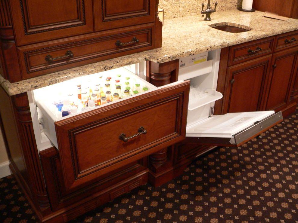 Pebble Ice Maker   Traditional Basement Also Bar Built in Appliance Cherry Custom