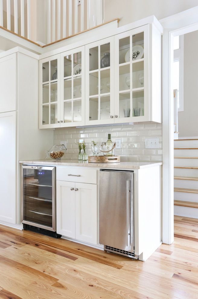 Pebble Ice Maker with Beach Style Home Bar  and Beach Beige Countertop Classic Coastal Remodel Under Counter Refrigerator Vacation Home White Railing Wine Refrigerator