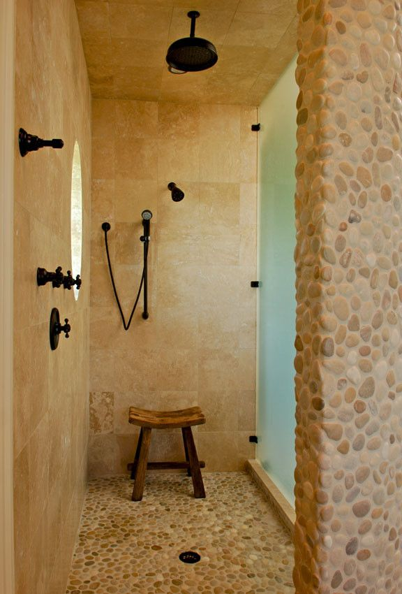Pebble Ice Maker with Tropical Bathroom Also Frosted Glass Limestone Oil Rubbed Bronze Pebbles Teak Stool
