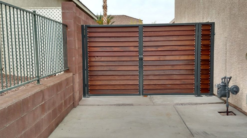 Peterman Lumber with Industrial Exterior  and Car Front Gate Car Gate Double Door Driveway Entry Gate Front Gate Hardwood Industrial Ipe Wood Lumber Peterman Lumber Residential Rivets Wooden Wooden Gate