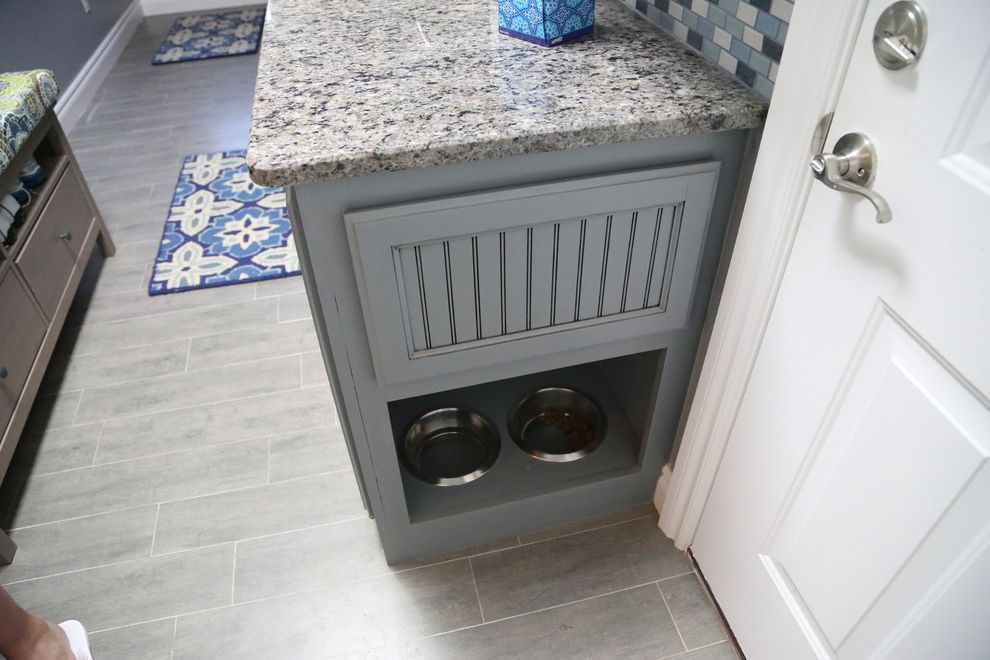Pets on Broadway   Contemporary Laundry Room Also Blue Cabinets Cat Bowls Dog Bowls Contemporary Wood Floor Drying Racks Drying Racks and Airers Kitchen Countertops Pet Bowls Feeding Pet Care Recycled Glass Tile Tile Pattern