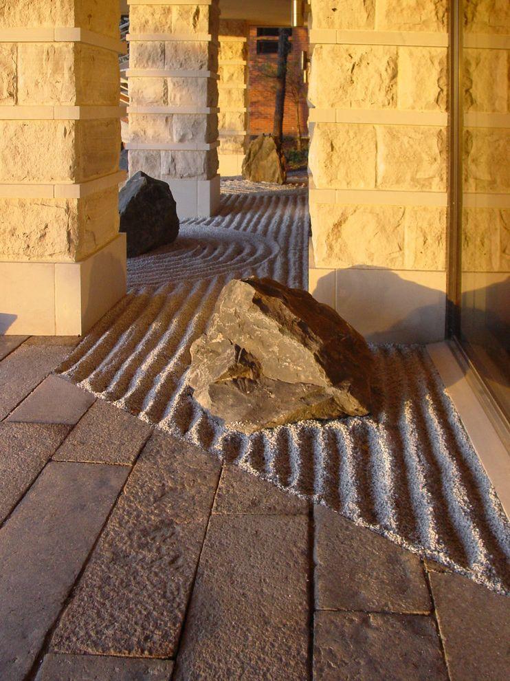 Pioneer Sand and Gravel with Asian Landscape Also Boulders Columns Hardscape Japanese Minimal Neutral Colors Rock Garden Rocks Sand Stone Paving Stone Walls Zen Garden