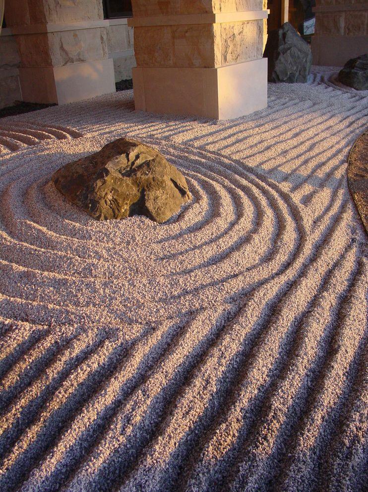 Pioneer Sand and Gravel with Asian Landscape Also Boulders Gravel Hardscape Japanese Minimal Pebbles Raking Rock Garden Rocks Sand Stone Columns Zen Garden