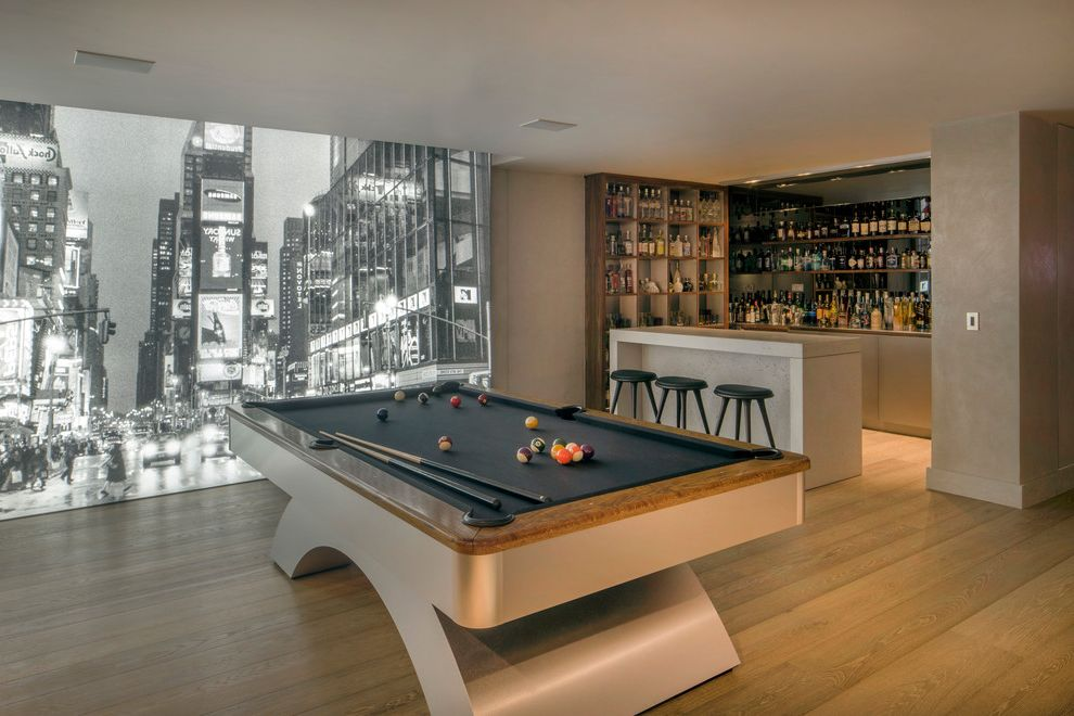 Pools in Nyc   Contemporary Home Bar  and Basement Black and White Mural Game Room Home Bar with Game Room Large Murals Light Wood Floors Man Cave Pool Table Seated Bar Wood Floors