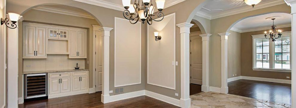 Pullman Building Supply    Kitchen  and Chandelier Contemporary Crown Molding Gray Walls Hardwood Floors Sconce White Cabinets