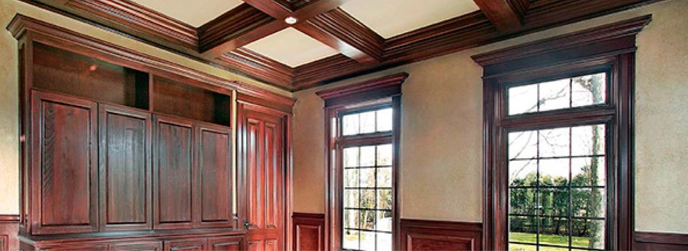 Pullman Building Supply with  Living Room Also Beige Walls Brown Cabinets Brown Trim Library Mahogany Paneled Ceilings Paneled Walls Rich Traditional