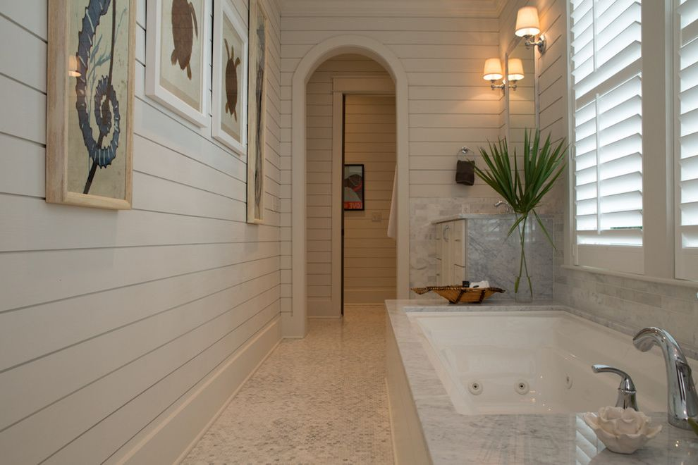 Rent1sale1   Beach Style Bathroom Also Arch Bathtub Coastal Marble Marble Tub Surround Marble Vanity Palm Plantation Blinds Sconce Shiplap Tile Floor Turtle