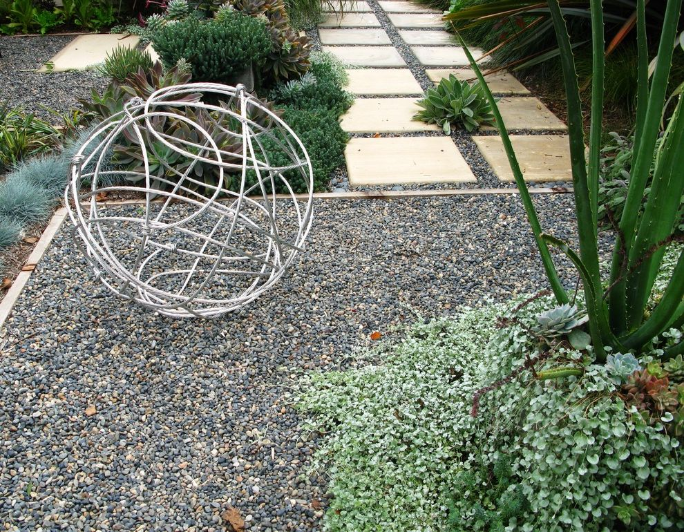 Rent1sale1 with Contemporary Landscape Also Cable Ball Colored Concrete Pavers Garden Art Grasses Gravel Path Pavers Planters Rock Garden Sculpture Succulents Walkway