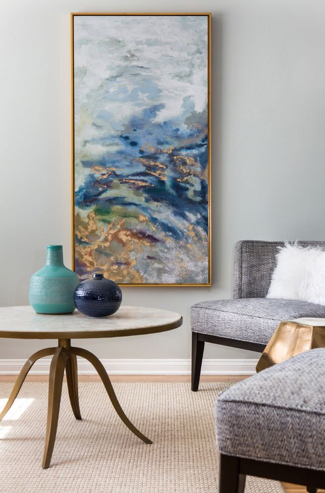 Reproductions Nyc   Transitional Living Room  and Abstract Painting Cb2 Ceramics Gray Armchair Light Blue Wall Modern Art Mongolian Pillow Round Coffee Table West Elm