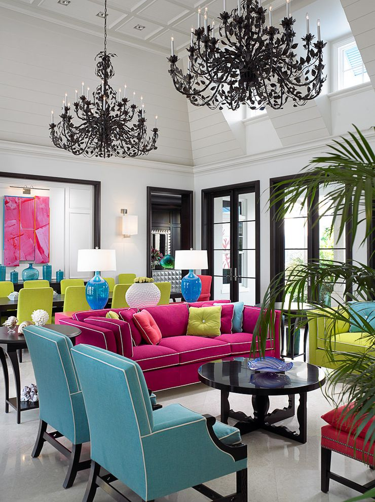 Reproductions Nyc   Tropical Living Room  and Beach Beachhouse Black Chandelier Bold Color Chandelier Clean Colour Contemporary Florida Fuchsia Great Room High Ceiling Holiday Kiwi Modern Turquoise Vacation