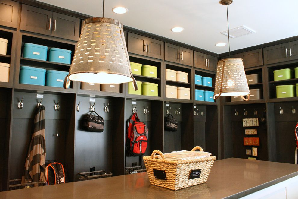 Rooms to Go Outlet Atlanta with Transitional Entry  and Backpack Beige Bins Black Cabinets Black Locker Blue Bins Cabinets Coat Hook Coat Rack Cubbies Green Bins Laundry Lockers Metal Pendant Light My Houzz Oversize Pendant Storage