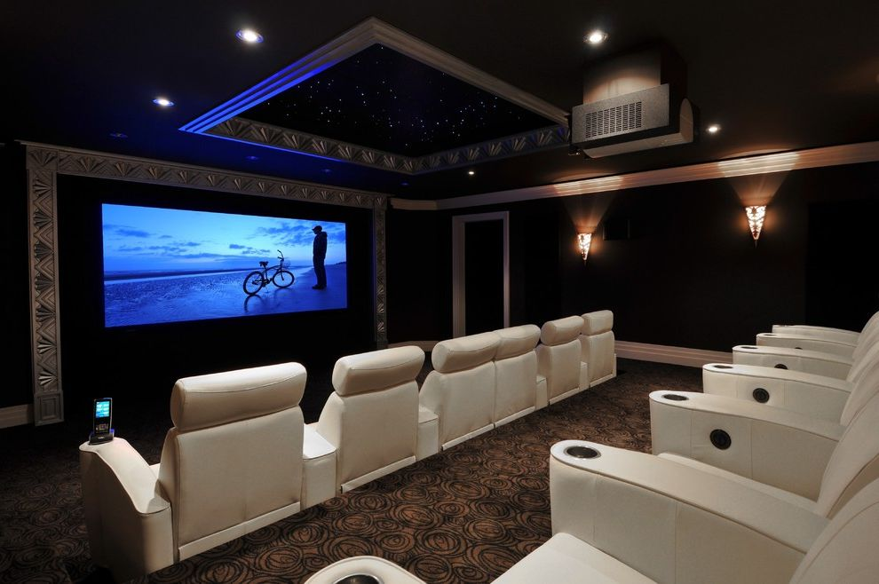 Royal Palm Theater   Traditional Home Theater  and Art Deco Brown Carpet Movie Chairs Multi Screen Sports Media Room Theater Chairs White Leather Armchairs