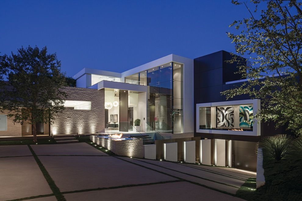 Rye House Nyc   Contemporary Exterior Also Driveway Entry Exterior Plaster Garage Glass House Pavers