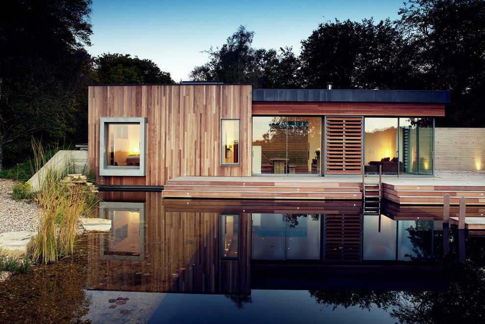 Rye House Nyc with Modern Exterior Also Angular Contemporary Design Contemporary Home Contemporary House Exterior Flat Roof House Exterior House in the Woods House on a Lake Manmade Pond Wood Siding Wooden Cladding Wooden Facade Wooden House