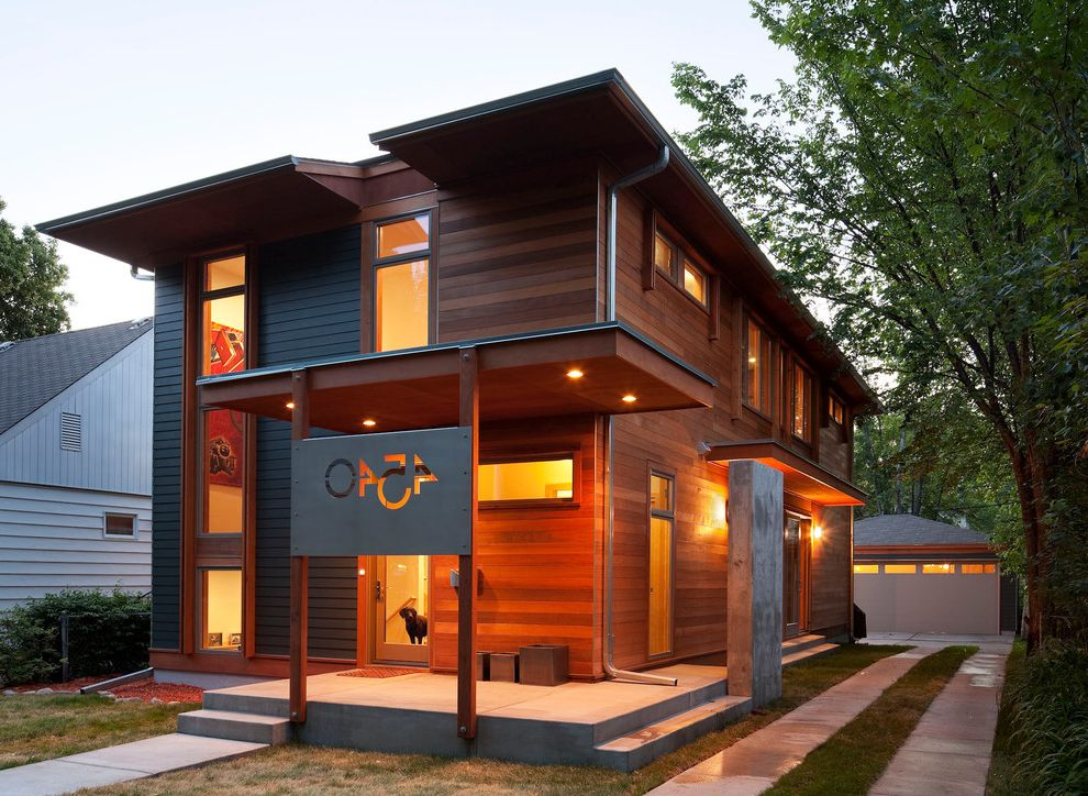 Rye House Nyc with Modern Exterior  and Cladding Concrete Driveway Covered Entry Divided Driveway Garage House Numbers Lawn Porch Ribbon Driveway Steel Plate Steps Wood Siding