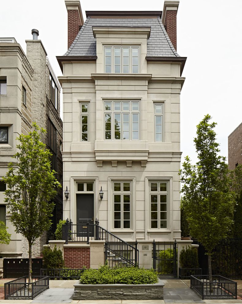Rye House Nyc with Traditional Exterior  and Brick Chimney City Home French Inspired Design Landscaping Limestone Facade Shingle Roof Townhome Townhouse