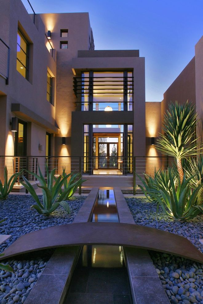 Ryland Homes Las Vegas   Contemporary Exterior Also Beige Walls Clean Lines Contemporary Landscaping Courtyard Drought Tolerant Plants Entry Gravel Patio Three Story House Water Feature