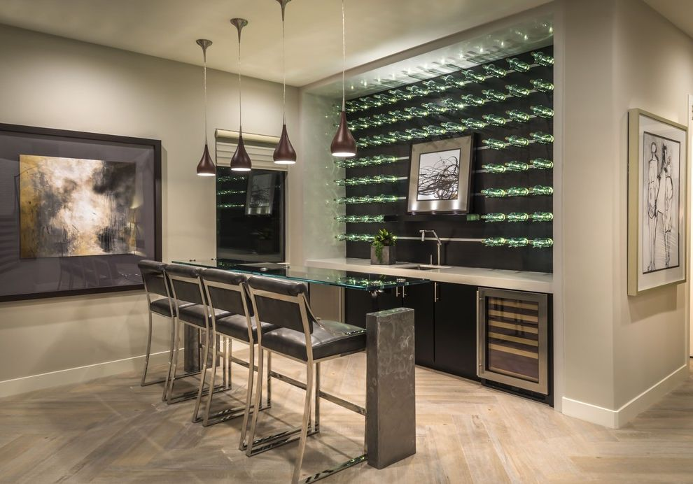 Ryland Homes Las Vegas with Contemporary Home Bar  and Beer Fridge Black Bar Stools Black Pendant Lights Glass Bar Top Low Hanging Pendant Lights Wine Display Wall Wine Fridge
