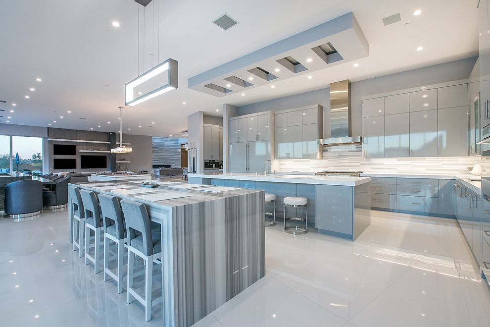 Ryland Homes Las Vegas with Contemporary Kitchen Also Chic Counter Stools Gray Grey High Gloss Lacquer Open Kitchen Rectangular Chandelier Sleek Stainless Steel Hood Waterfall Island