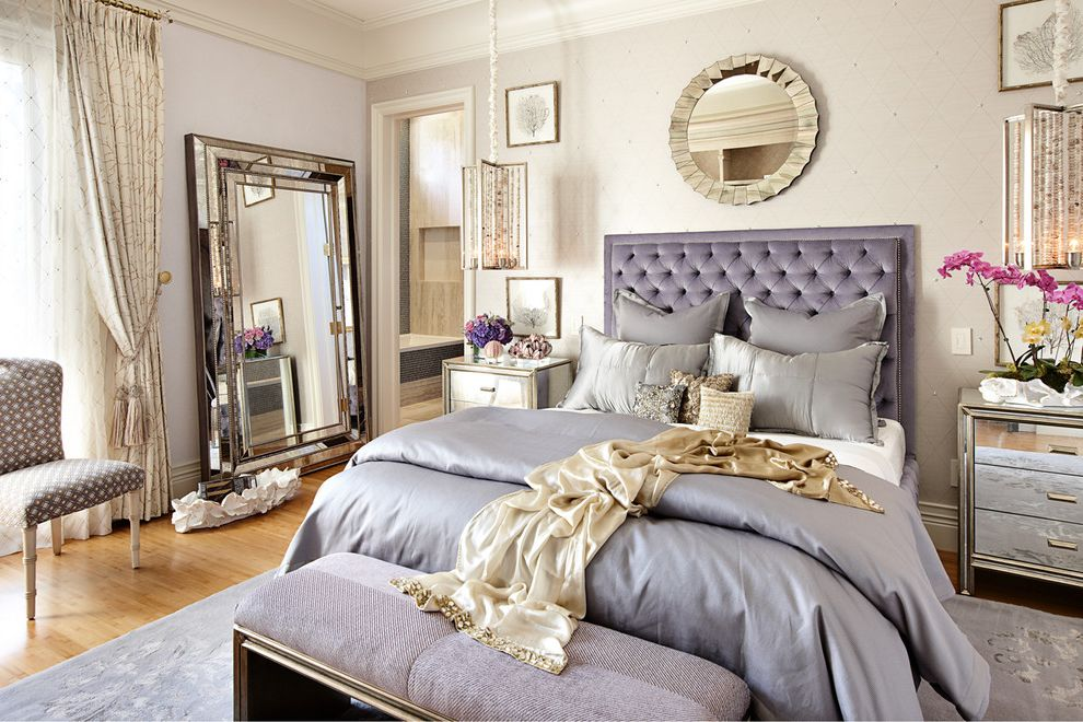 Ryland Homes Las Vegas with Eclectic Bedroom  and Crown Molding Feminine Mirror Pendant Light Purple Round Mirror Silver Silver Mirror Silver Nightstand Upholstered Chair Upholstered Headboard Wallpaper Wood Floor