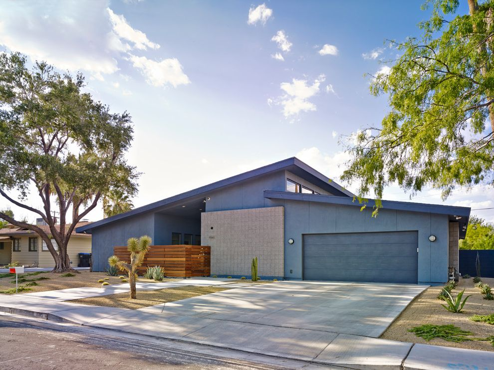 Ryland Homes Las Vegas with Midcentury Exterior Also Cactus Desert Landscape Down Town Garage Door Horizontal Fence Las Vegas Midcentury Modern House Shed Roof Urban Xeriscape