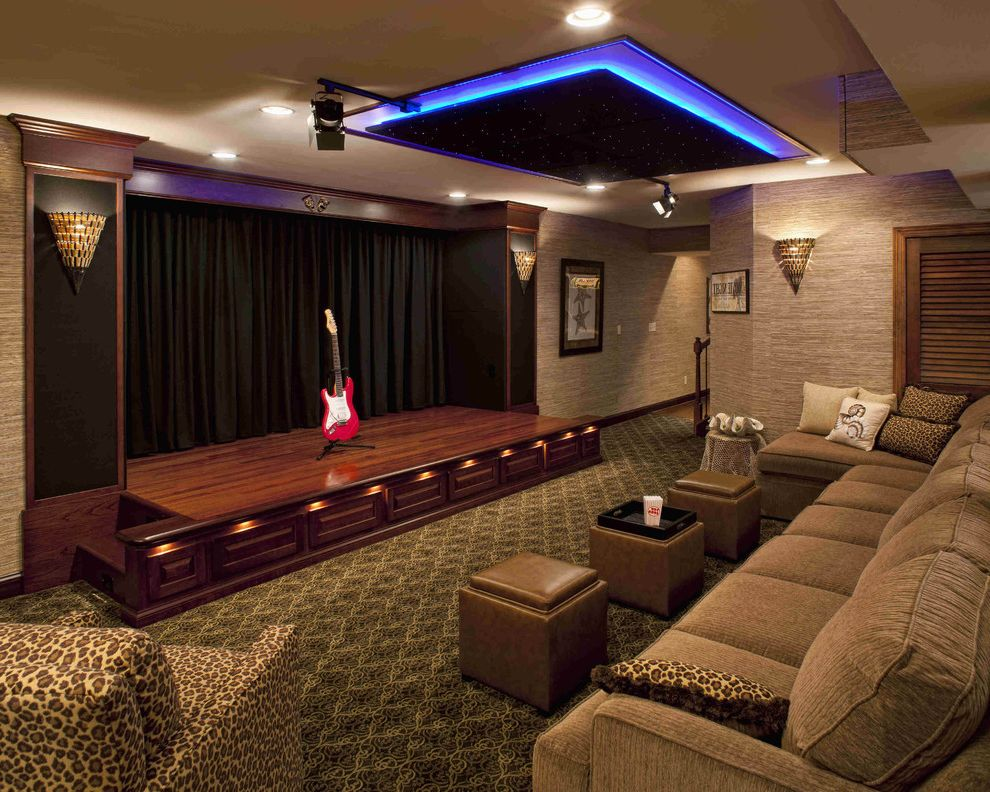 San Mateo Theater   Contemporary Home Theater  and Bar Home Theater Leopard Print Media Room Motorized Curtain Neon Light Screening Room Stage Star Field Storage Cube Wall Covering