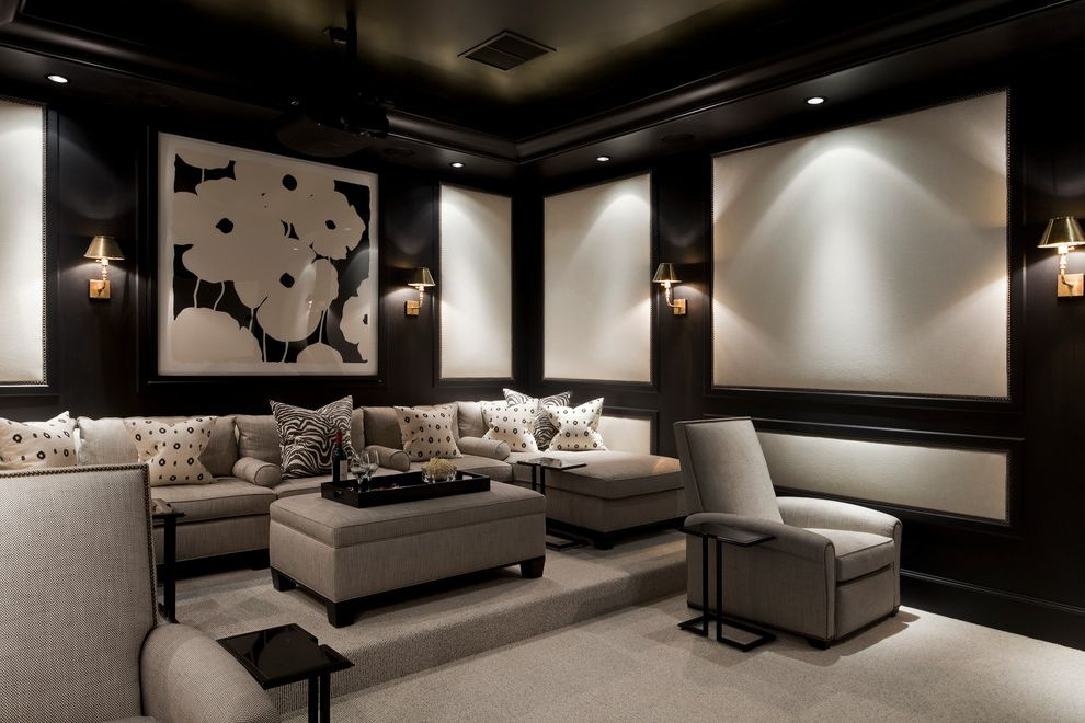 San Mateo Theater   Traditional Home Theater  and Black and White Black and White Pillows Contemporary Art Donald Sultan Flowers Gray Arm Chair Gray Carpet Gray Couch Gray Ottoman Sectional Couch Wall Sconces