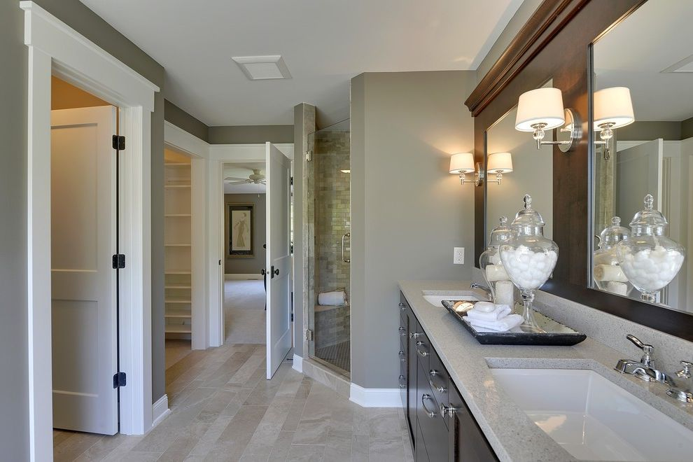 Scrub Shops Near Me with Traditional Bathroom Also Beige Floor Closet Corner Shower Cotton Balls Gray Counter Hanstone Marble Floors Plank Set Sconce Shades Two Mirrors Two Sinks Undermount Sink Walk in Shower Wall Sconces