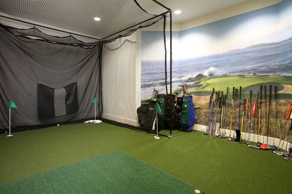 Secession Golf Club   Contemporary Home Gym Also Architectural Photography Astroturf Golf Room Golfing Cage Indoor Golf Luxury Real Estate Photography Recessed Lighting