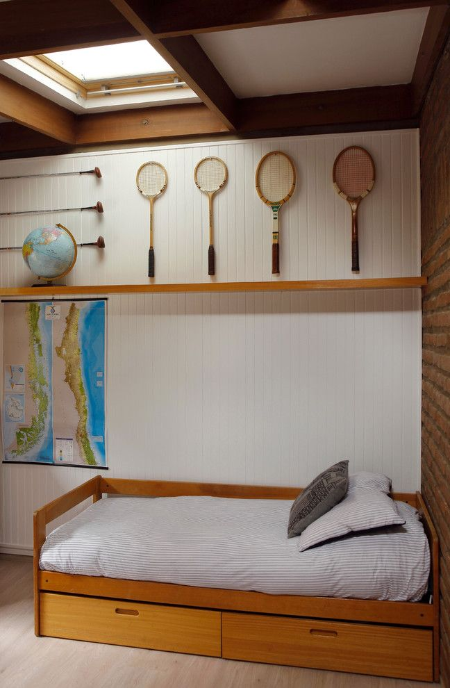 Secession Golf Club   Contemporary Kids  and Bed Drawers Boys Bedroom Exposed Brick Globe Golf Club Light Wood Bed Light Wood Shelf Map Racquet Skylight Under Bed Storage White Beadboard Wood Beams