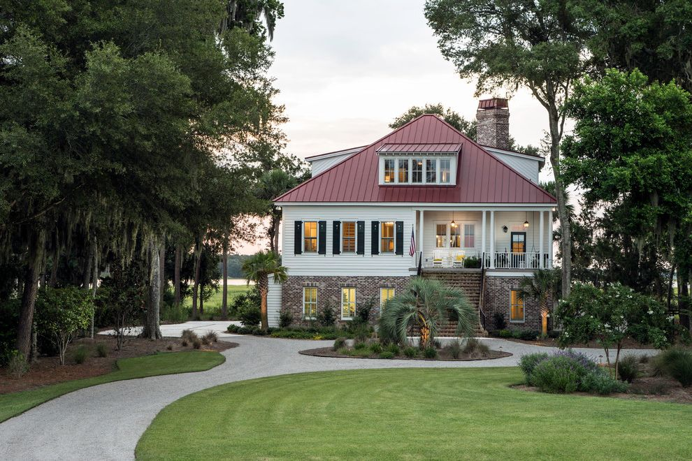 Secession Golf Club   Traditional Exterior  and Allison Ramsey Architects Barn Barn Door Billiards Carolina Coastal Glass Golf Hip Roof Hipped Light Lowcountry Marsh Metal Roof Pool Porches Red Roof Sitting Room View Wood
