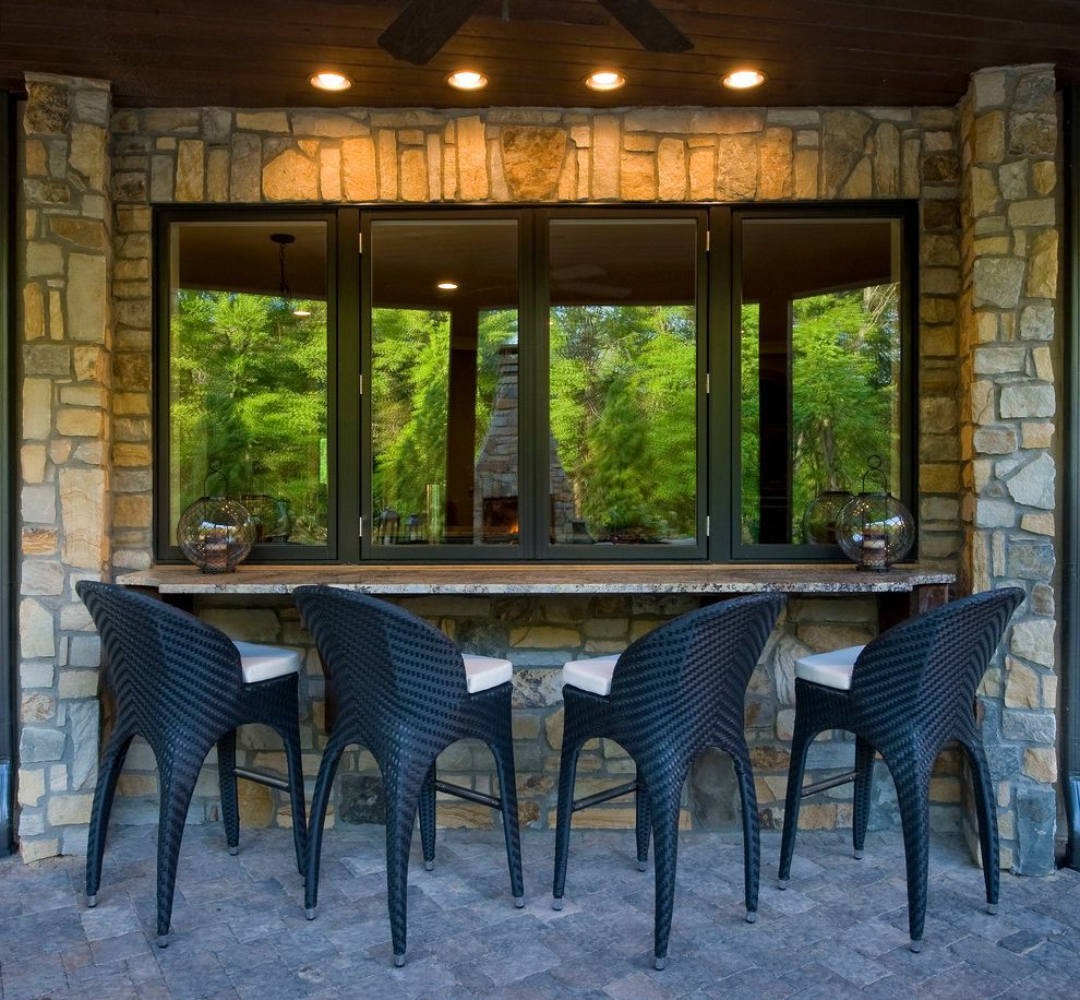 Security Bars for Windows   Eclectic Patio Also Bar Ceiling Fan Covered Patio Stone Exterior Stone Patio Wood Ceiling