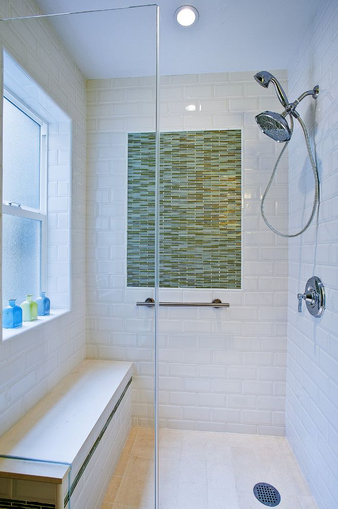 Security Bars for Windows with Beach Style Bathroom  and Chrome Frosted Glass Glass Shower Enclosure Green Mini Subway Tile Recessed Light Shower Bar Shower Bench Tile Floor Towel Bar White Subway Tile Window
