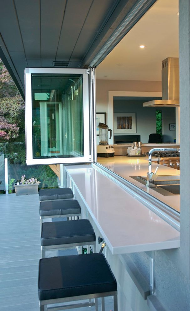 Security Bars for Windows with Contemporary Deck Also Bifold Window Black Seat Cushions Deck Indoor Outdoor Kitchen Pass Through My Houzz Square Bar Stools Square Barstools Stainless Steel Sink White Counter