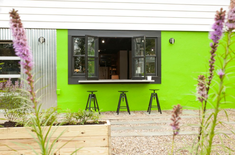 Security Bars for Windows with Contemporary Patio  and Backyard Retreat Bar Area Basement Bar Bifold Window Bright Green Walls Cousins Undercover Kitchen Pass Through Lime Green Wall Metal Bar Stool Modern Neon Green Wall Outdoor Entertaining