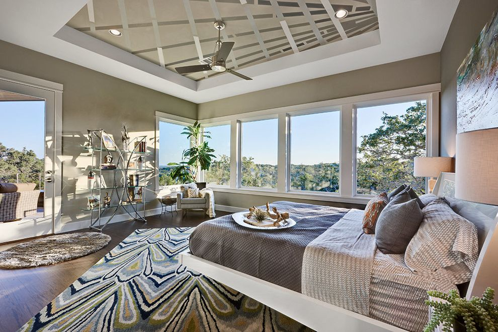 Sherwin Williams Austin   Contemporary Bedroom  and Area Rug Artwork Balcony Ceiling Fan Chrome Corner Window Deck Glass Shelves Gray Platform Bed Table Lamps Tray Ceiling View White Trim Wood Floor
