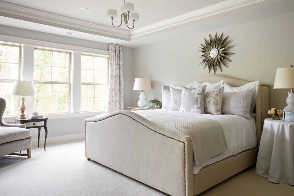 Sherwin Williams Austin with Traditional Bedroom  and Nailhead Detail Table Cloth Tray Ceiling White Carpet
