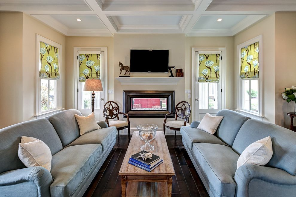 Sherwin Williams Denver   Traditional Living Room  and Blue Sofa Chair Coffee Table Coffer Ceiling Cottage Double Sided Fireplace Linear Fireplace Sofa Wood Floor