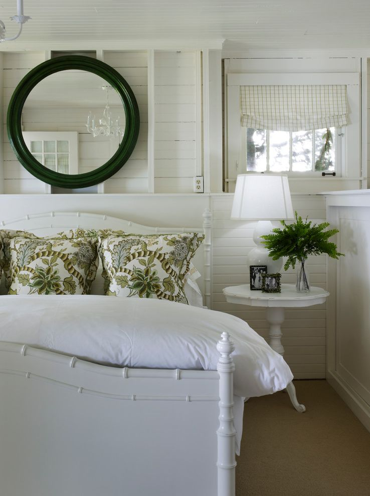 Signature Place Apartments   Beach Style Bedroom  and Black Frame Mirror Botanical Pillows Chandelier Cottage Coze Faux Bamboo Bed Floral Green and White Pedestal Nightstand Planks Roman Shade Round Mirror