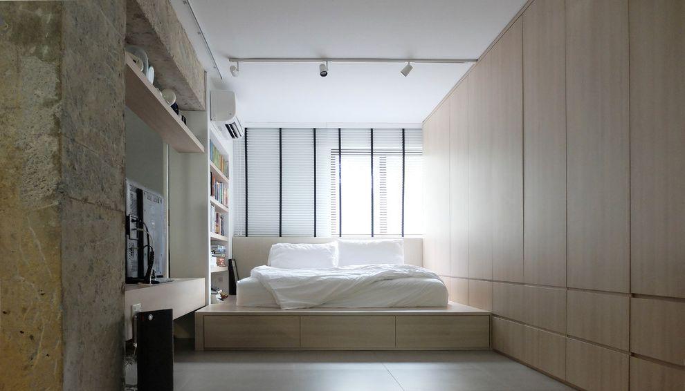 Signature Place Apartments   Scandinavian Bedroom  and Futon Platform Bed Track Lighting