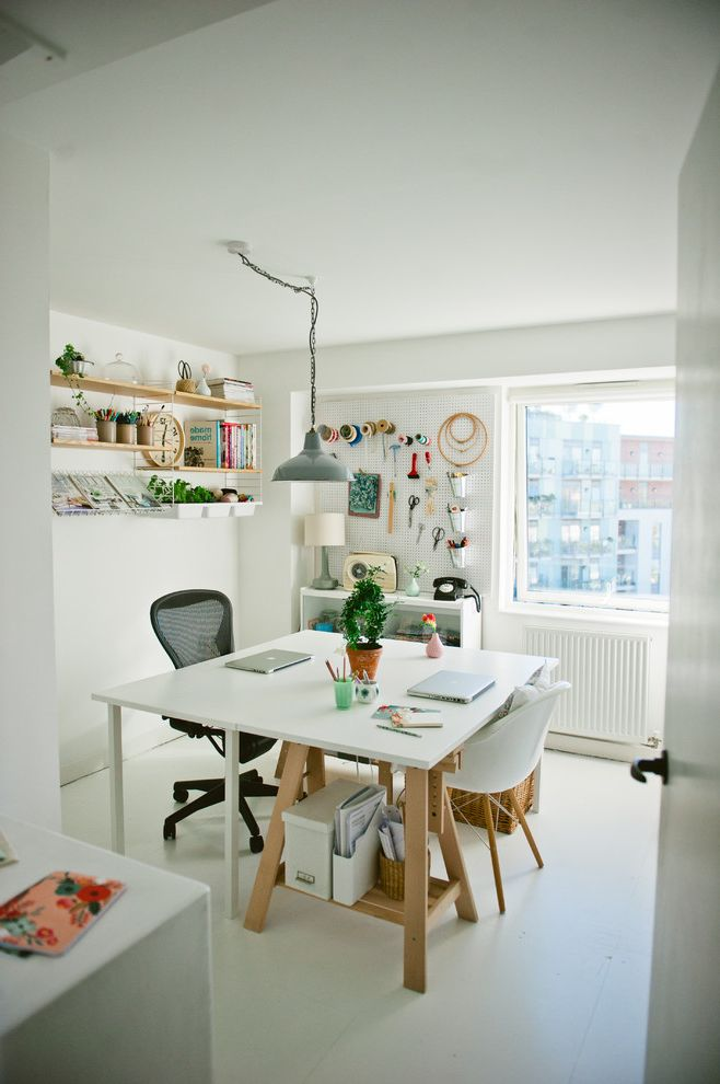 Signature Place Apartments with Scandinavian Home Office Also Craft Craft Room Desk Desks Hanging Shelves Home Office Home Office Design Office Desk Peg Board Radiator String Shelving Vintage Pendant Lighting Wall Mounted Tools White Desk Work Space