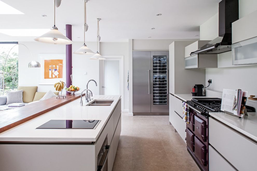 Small Fireproof Safe   Contemporary Kitchen Also Breakfast Bar Gray Grey Kitchen Island Lighting Pendant Lights Over Island Pop of Color Purple Purple Aga Stainless Fridge Stove Vent Hood Wine Fridge