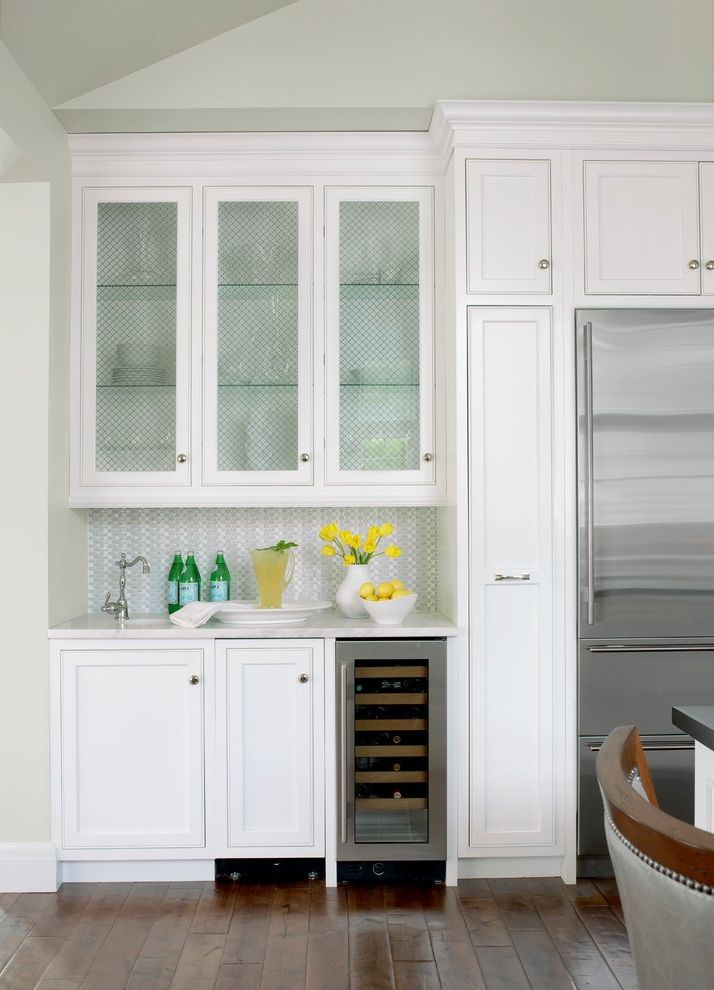 Small Wine Fridge   Traditional Kitchen Also Bar Bar Sink Glass Cabinet Doors Glass Doors Glasses Small Sink Tile Under Counter Refrigerator Wet Bar White Kitchen Wine Bar Wine Cooler Wine Glass Storage Wine Refrigerator Wine Storage