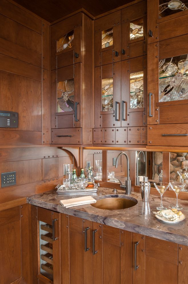 Small Wine Fridge   Traditional Kitchen  and Bar Sink Caramel Apple Granite Cherry Cabinetry Gray Countertop Metal Sink Round Sink Small Sink Small Wine Fridge Stained Glass Cabinets Stemware