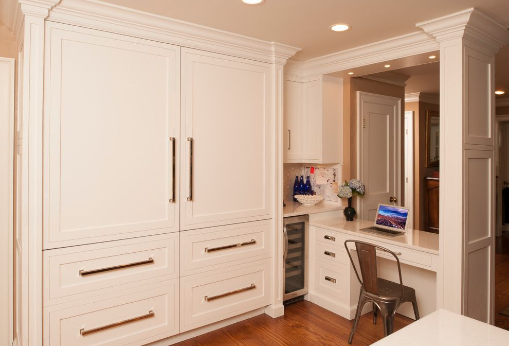 Small Wine Fridge   Transitional Kitchen  and Beige Wall Built in Desk Bulletin Board Metal Side Chair Small Wine Fridge Transitonal Kitchen White Cabinets White Column White Drawers White Painted Kitchen White Pillar Wine Fridge Wood Floor