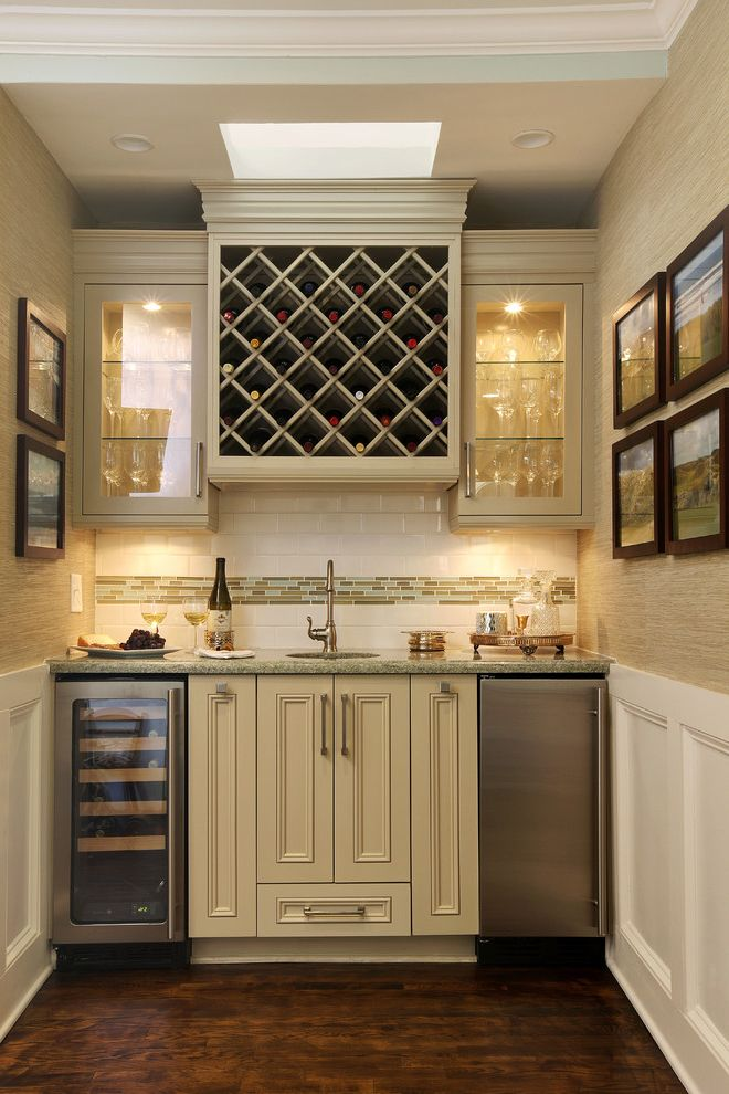 Small Wine Fridge with Traditional Home Bar Also Mosaic Tile Band Recessed Lighting Skylight White Wainscoting Wine Rack